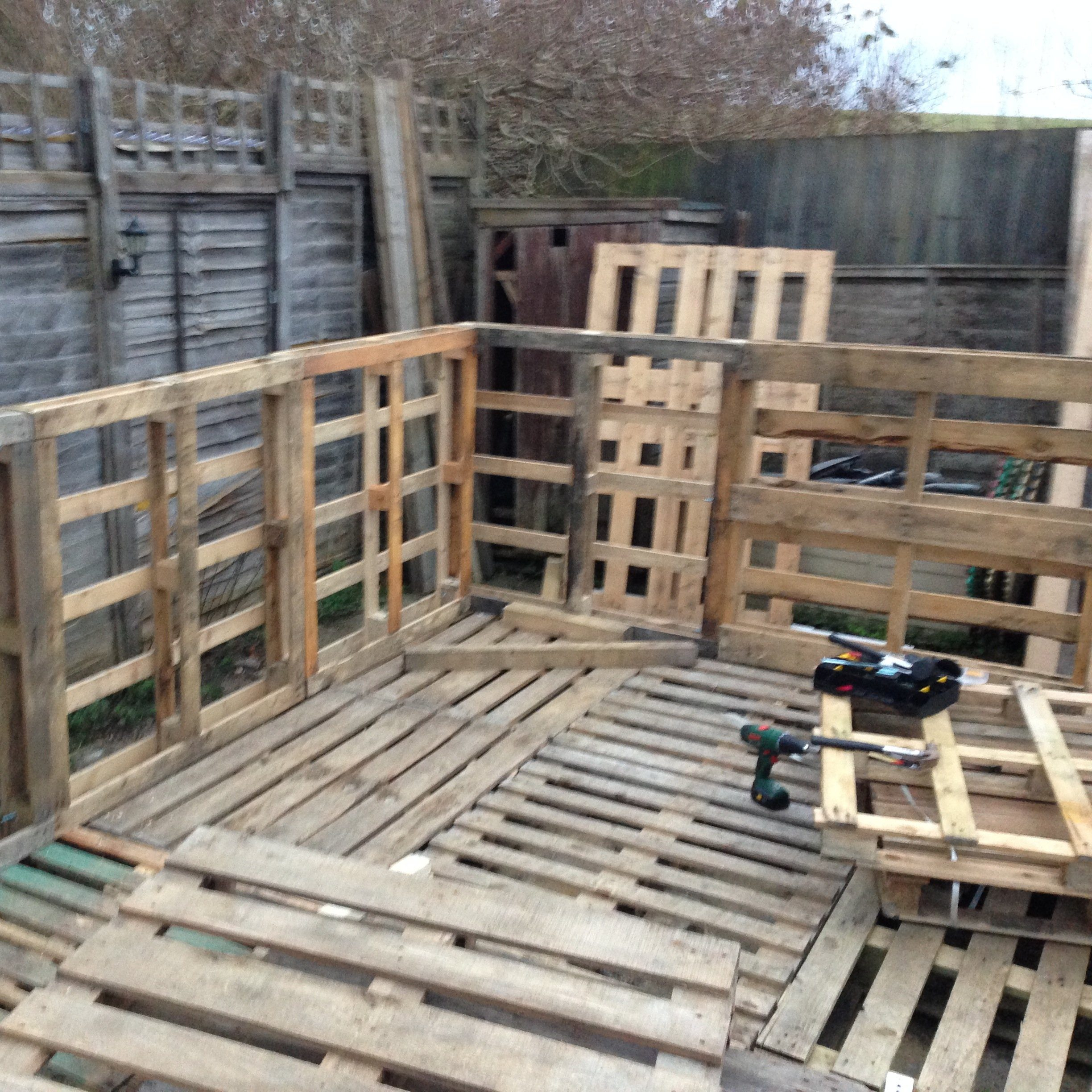 My up cycled workshop stage 1 the frame the salvage sister for Pallet outdoor flooring