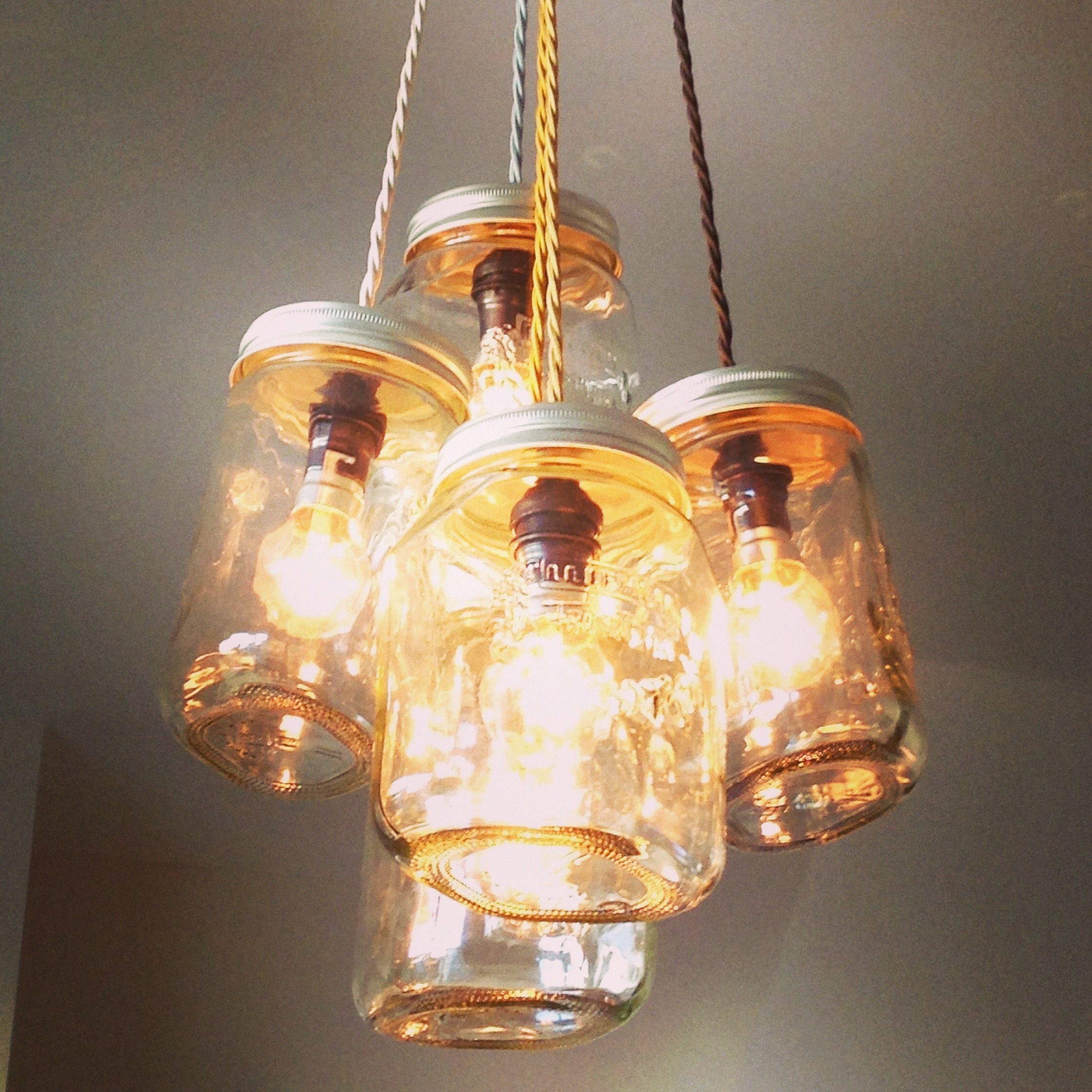 Jam jar chandellier vintage style with 5 lights