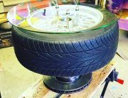 BMW alloy wheel coffee table by Charis Williams