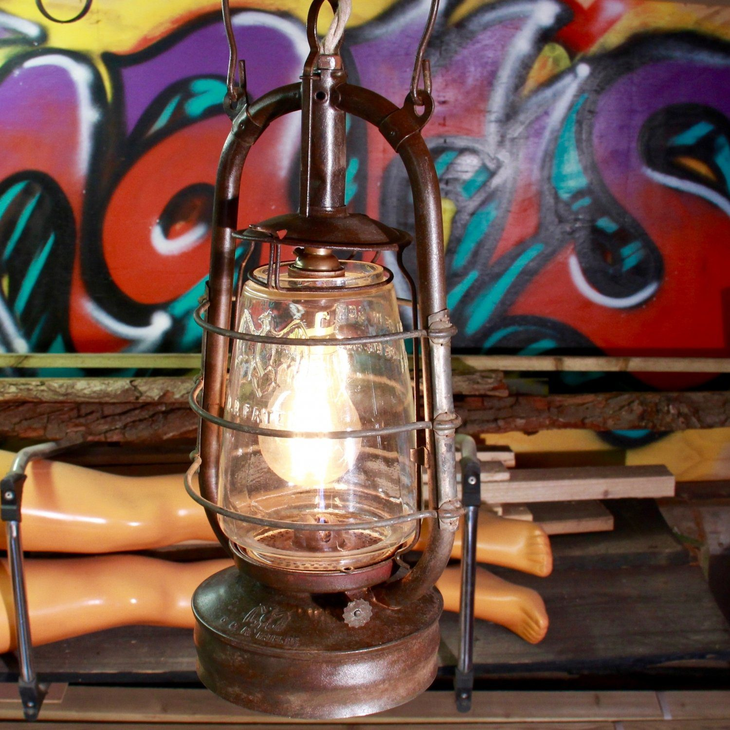 Vintage oil lamp converted into electric pendant lamp