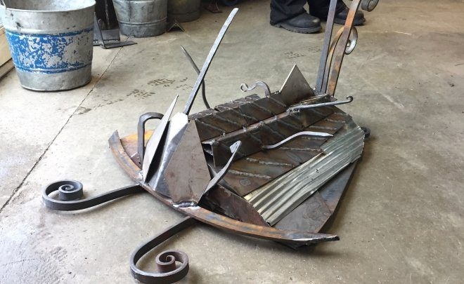 Scrap steel sculpture
