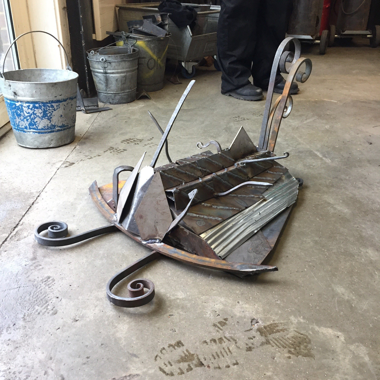 Scrap steel sculpture