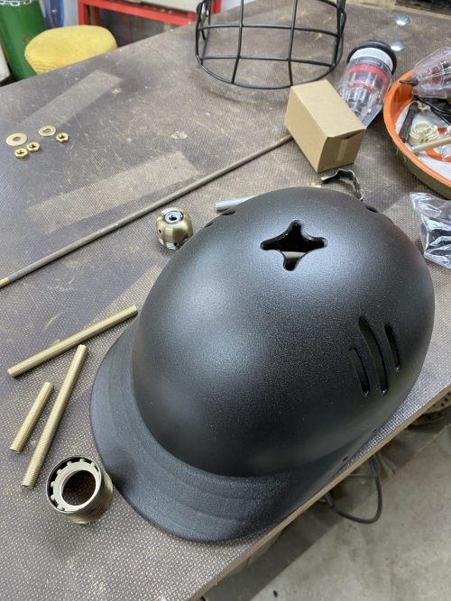 cricket helmet sprayed and about to be upcycled