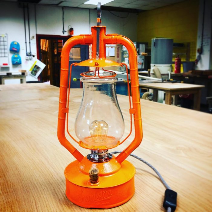 oil prrafin lamp upcycled into contemporary lamp
