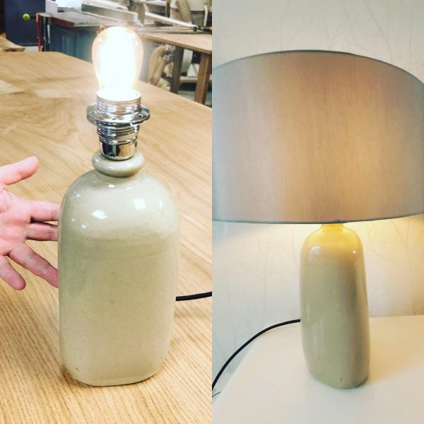 My completed upcycled lamp made from a ceramic vase bottle