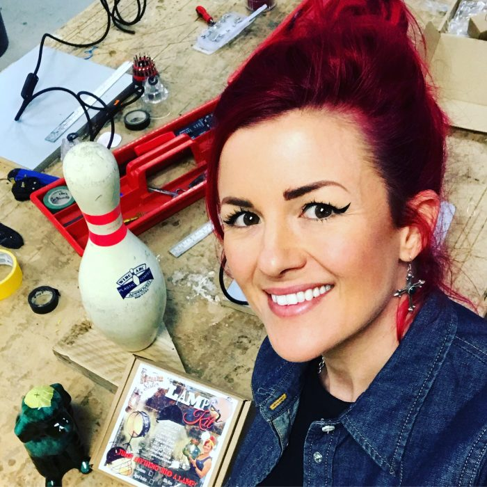 Lamp making workshop tutor Charis Williams AKA the Salvage Sister