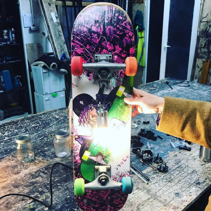 upcycled skateboard lamp