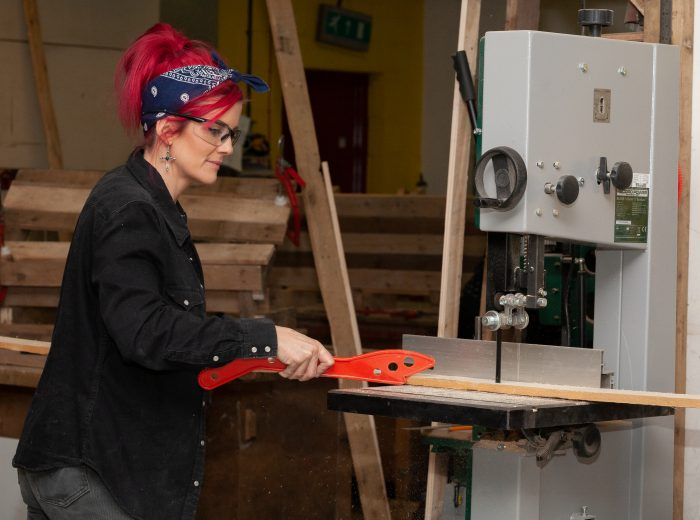 Using a bandsaw in brighton workshop