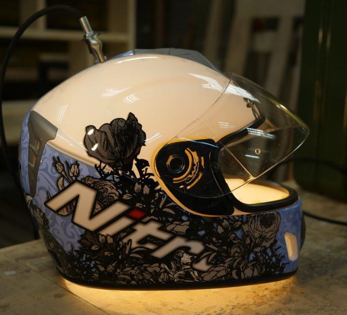 Motorcycle helmet lamp