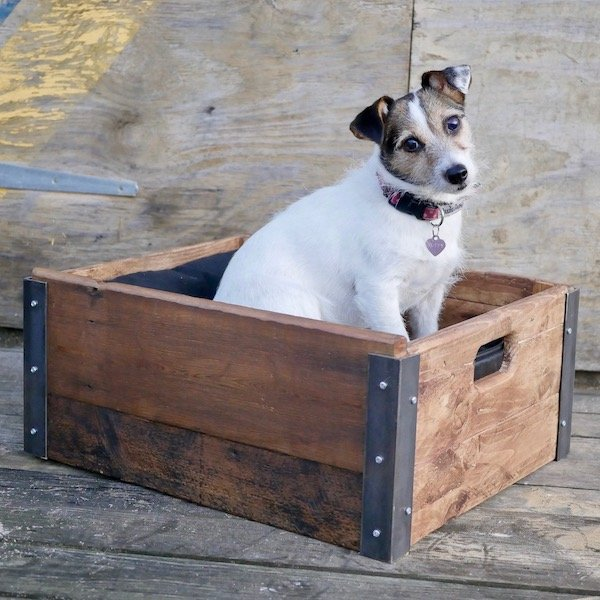 reclaimed wood and steel pet bed
