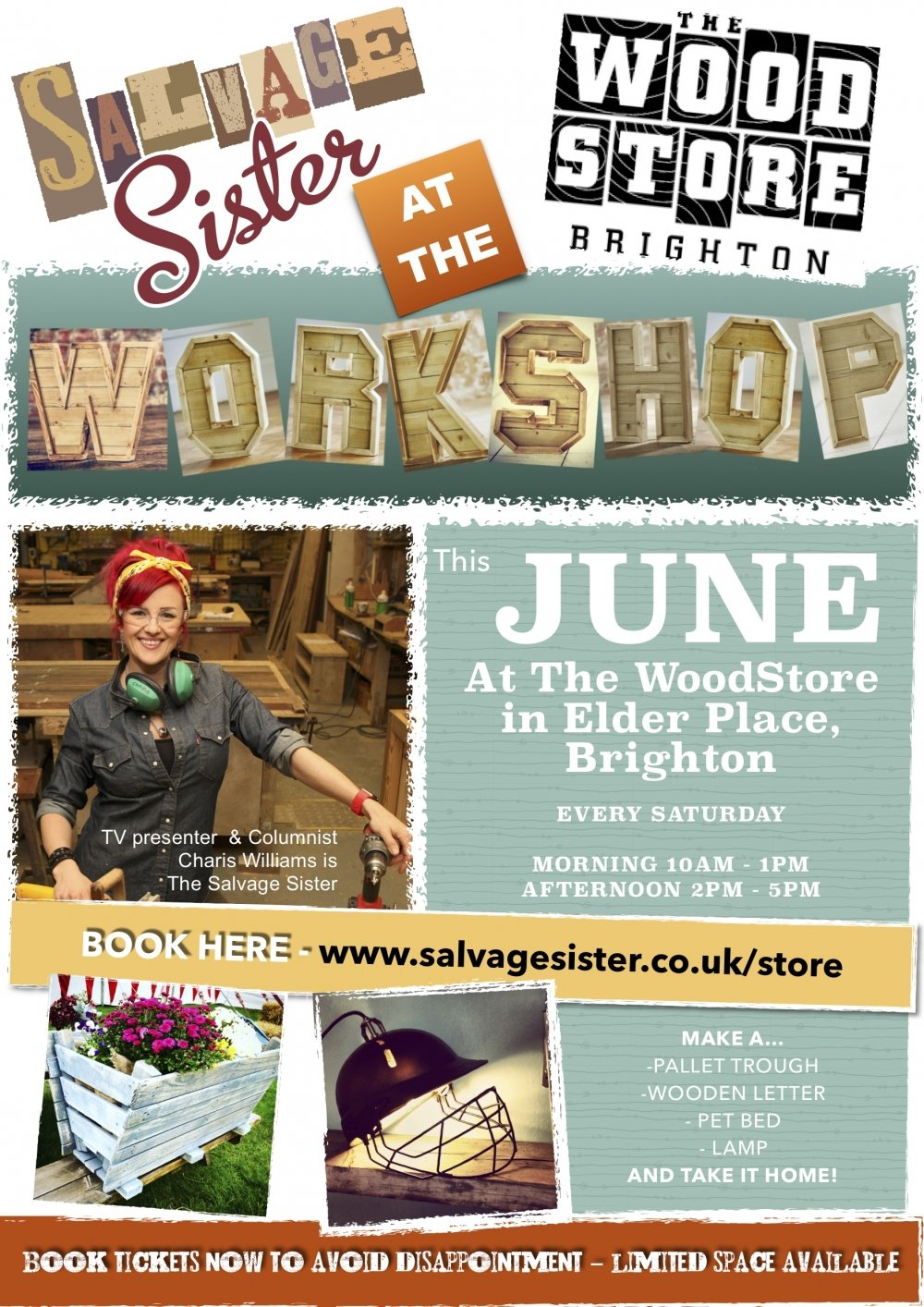 WOODSTORE POSTER Workshops in Brighton with the Salvage Sister