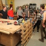 Woodwork workshop class in action