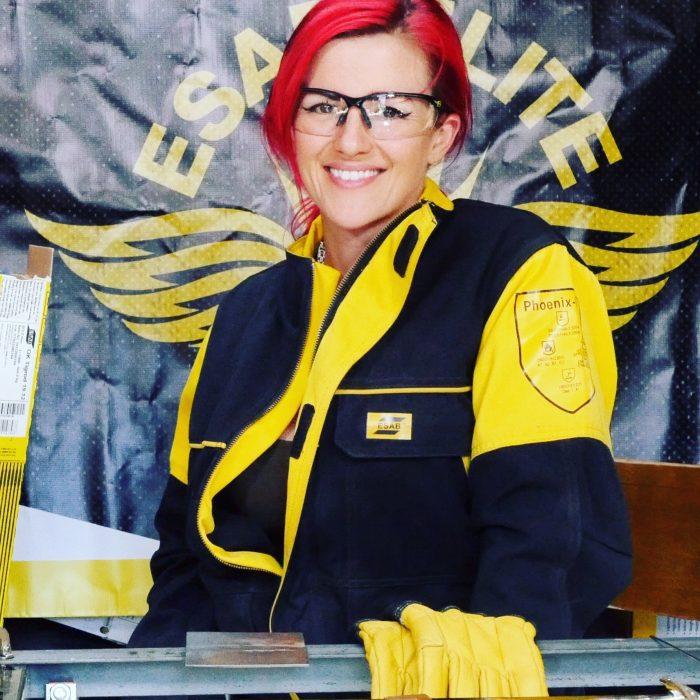 Esab elite female welder in Brighton