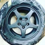car alloy wheel after sanding and priming