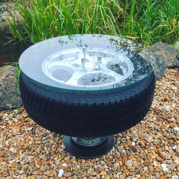 industrial chic car wheel table