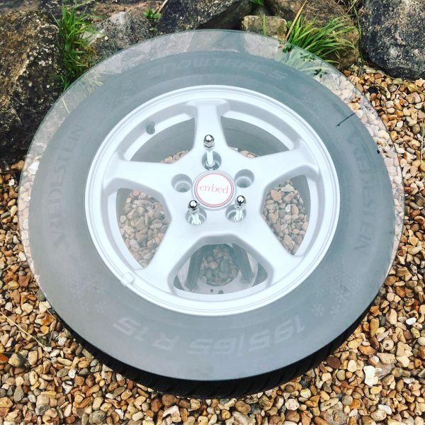 car alloy wheel coffee table with glass top