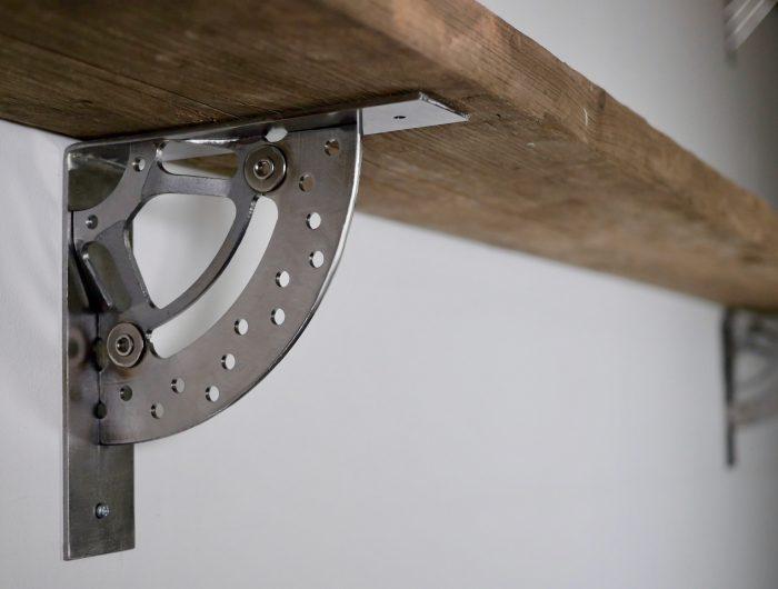 Motorbike break disk steel shelf brackets industrial style