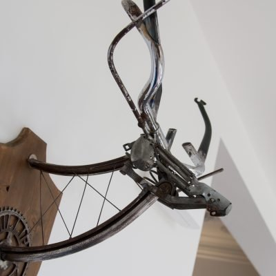 Metal Stag wall art made from salvaged bike parts for Old House New Home