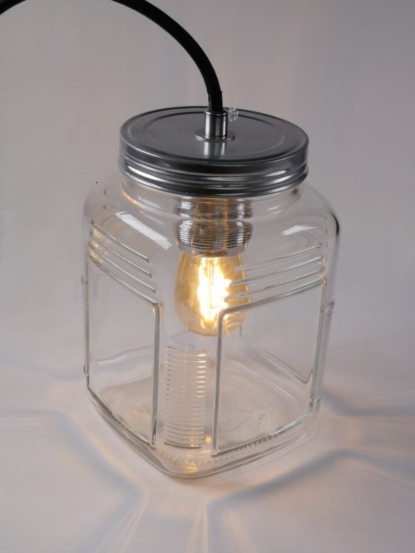Glass Storage jar turned into a lamp with DIY KIT 3 core UK