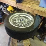Alloy wheel coffee table