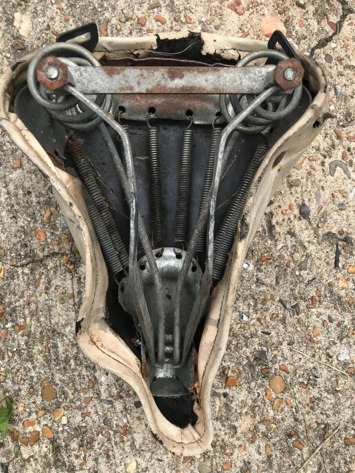 Metal framework of a vintage bicycle seat