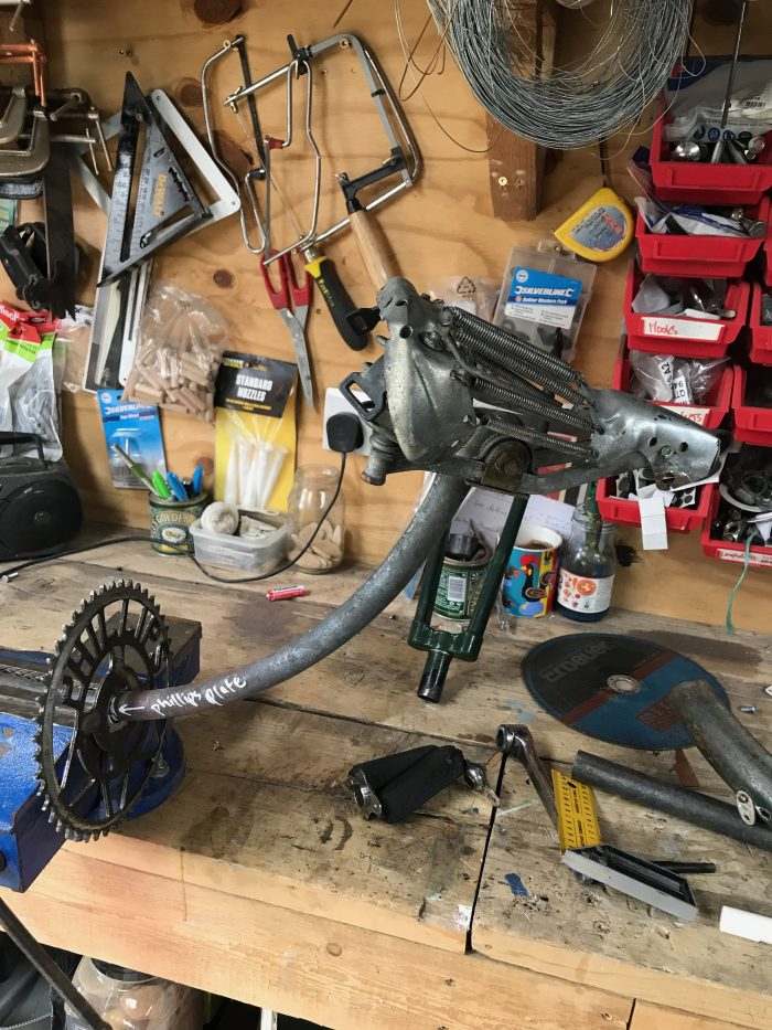 making metal stag head wall art from salvaged bicycle