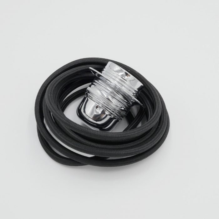 black fabric cable with chrome e27 lampholder