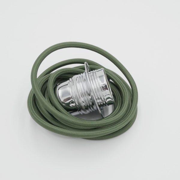 olive green lighting flex with chrome lampholder