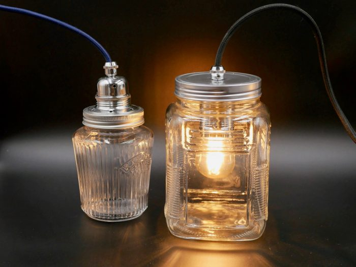 making a jam jar lamp with embossed jam jar