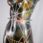 Colourful studded OOAK lamp