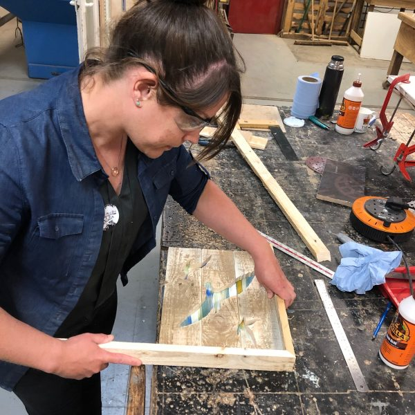 learning to frame wall art with mitre corners
