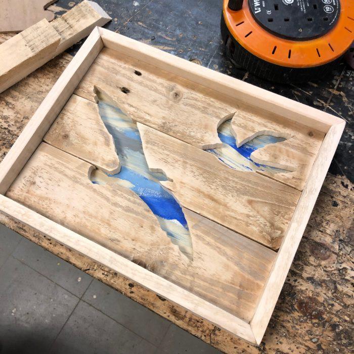 Handmade wooden seagull artwork
