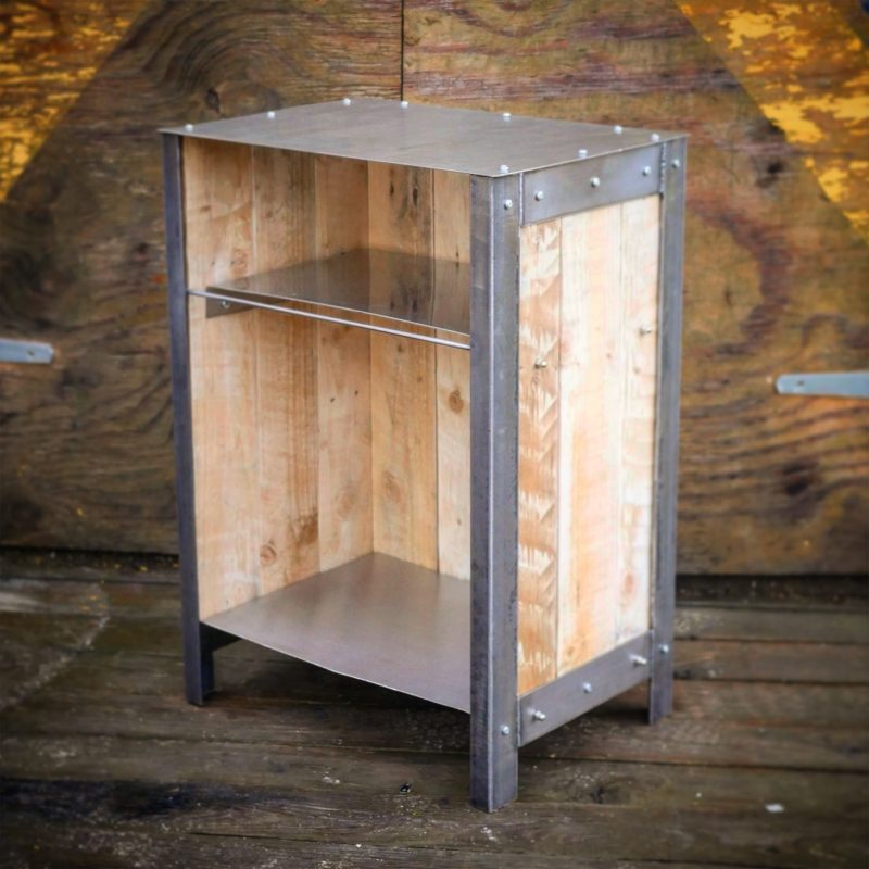 Industrial style bedside cabinet steel & reclaimed wood