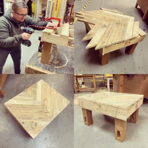 Learning how to make a table from pallets and a unique design for the table top