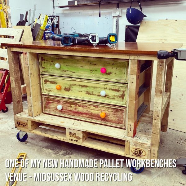 Upcycled pallet workbench