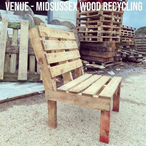 Handmade pallet wood bench