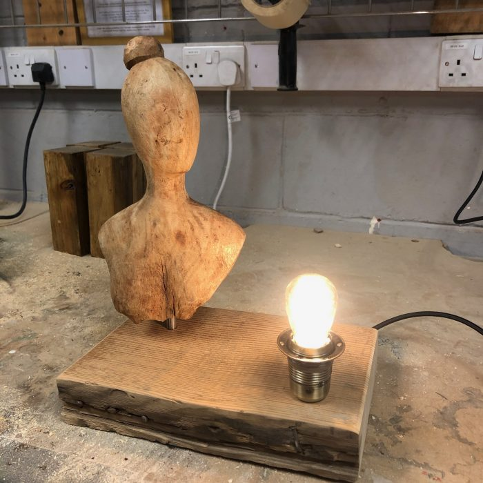 reclaimed scaffold board and thrift shop find turned into a lamp
