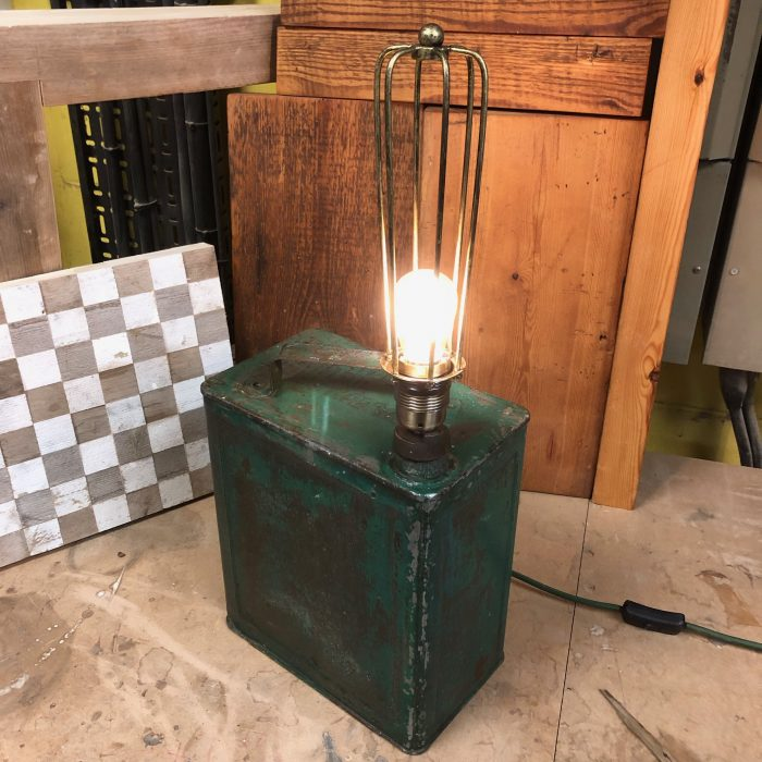 vintage Jerry can turned into a lamp
