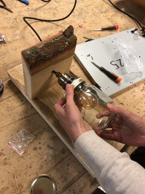 jam jar lamp with handmade wooden sconce