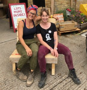 finished pallet sofa we made at Woodstore brighton