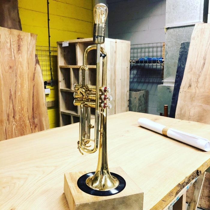 Upcyled Trumpet lamp on wooden base
