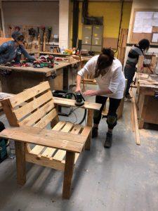 sanding my new pallet bench