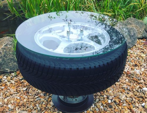 SAAB car wheel coffee table with steel frame