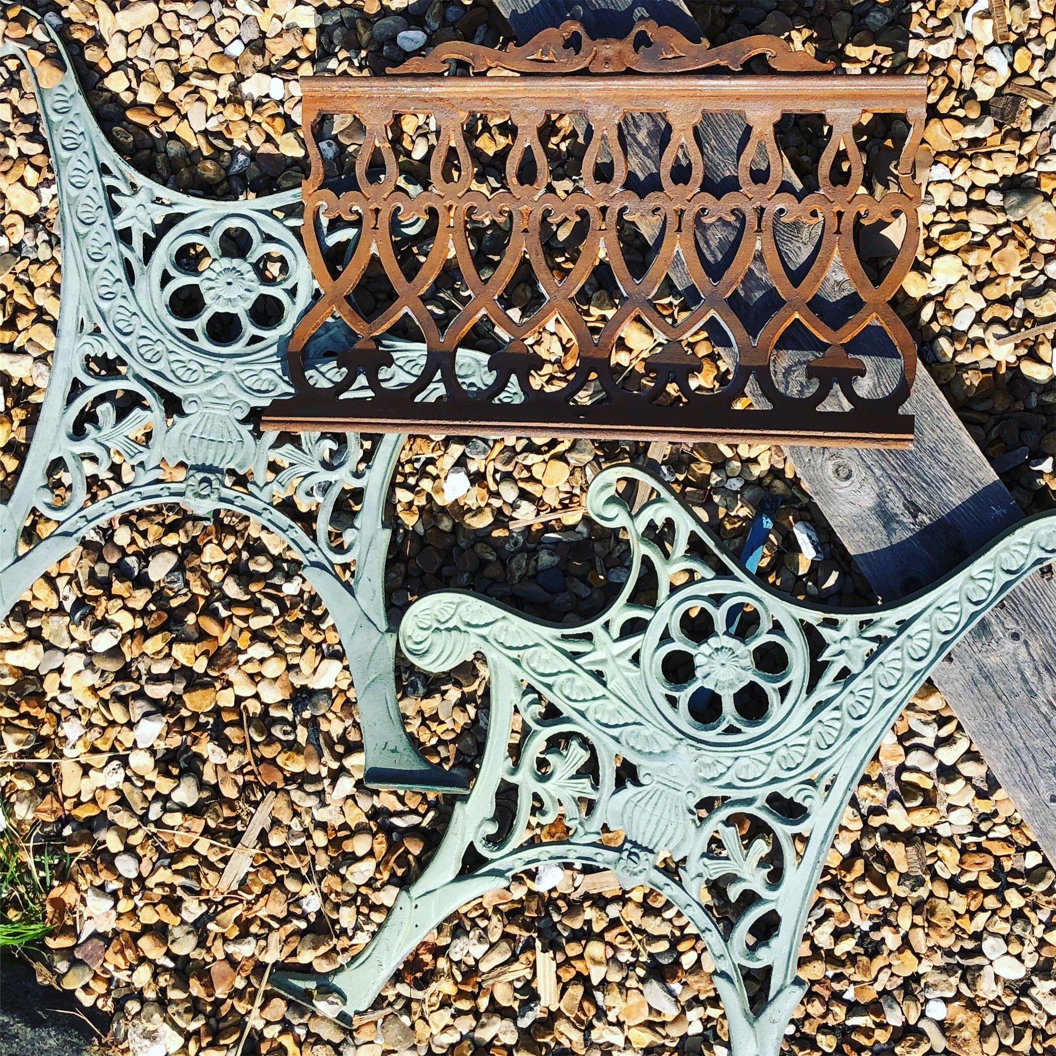 Salvaged parts of the West pier ready to create a bespoke bench