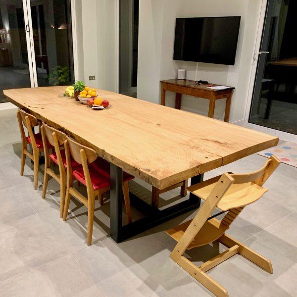 Oak slab dinner table made in Brighton