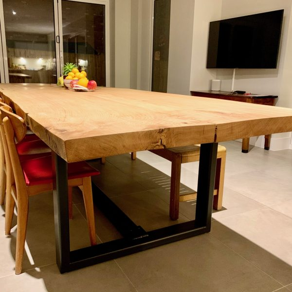 wooden slab table with metal base