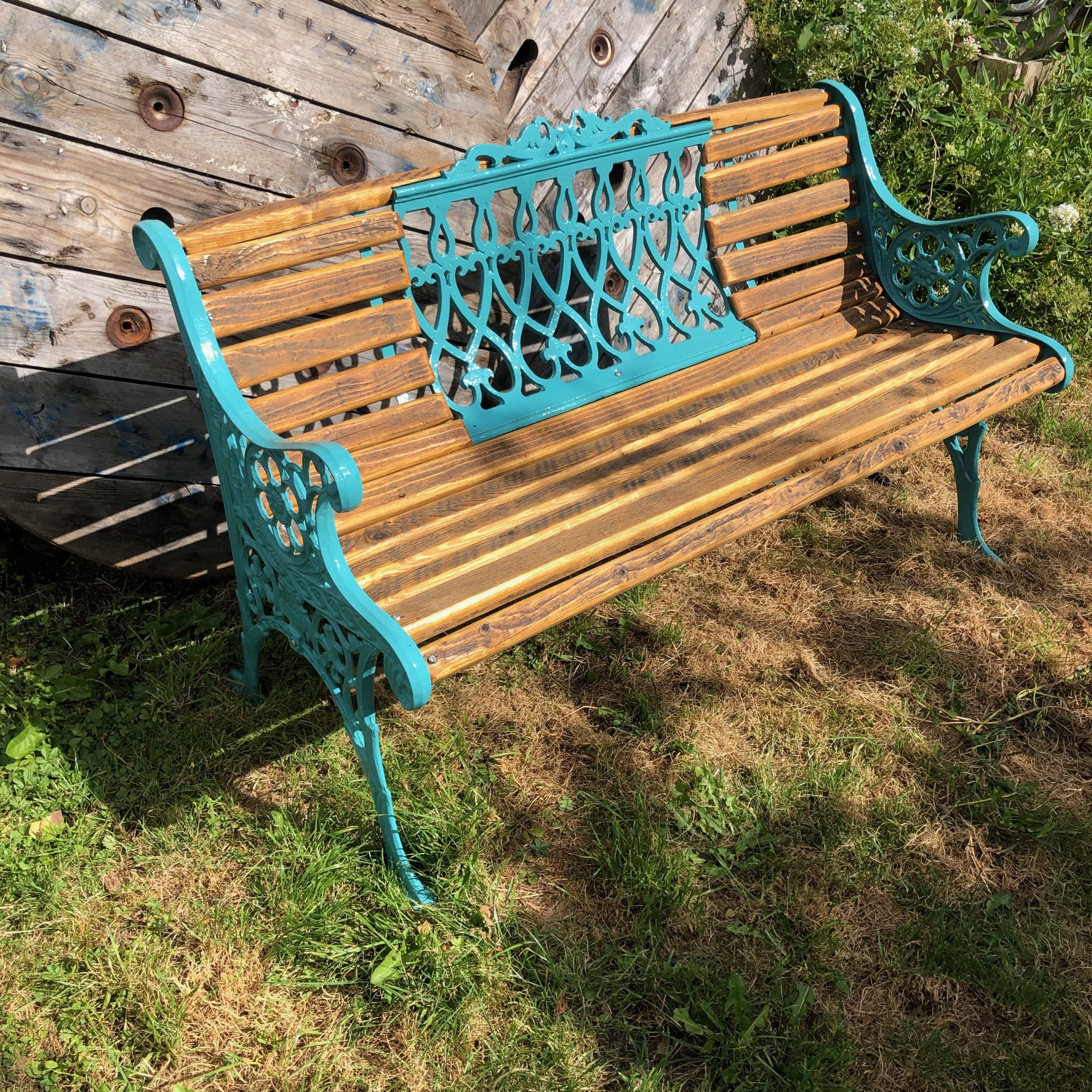 Reclaimed barn wood and West Pier salvage bench