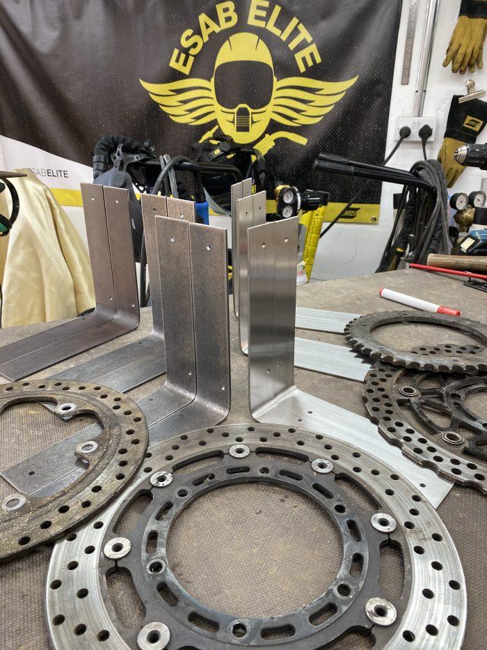 making moto shelf brackets brackets ready for brake disks