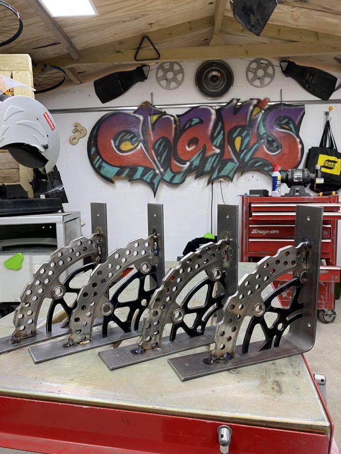 motorbike brake disk on mild steel