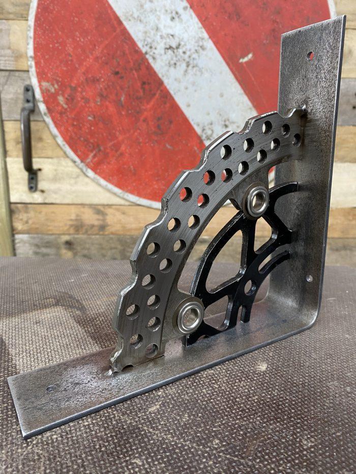 mild steel & motorbike brake disk shelf bracket